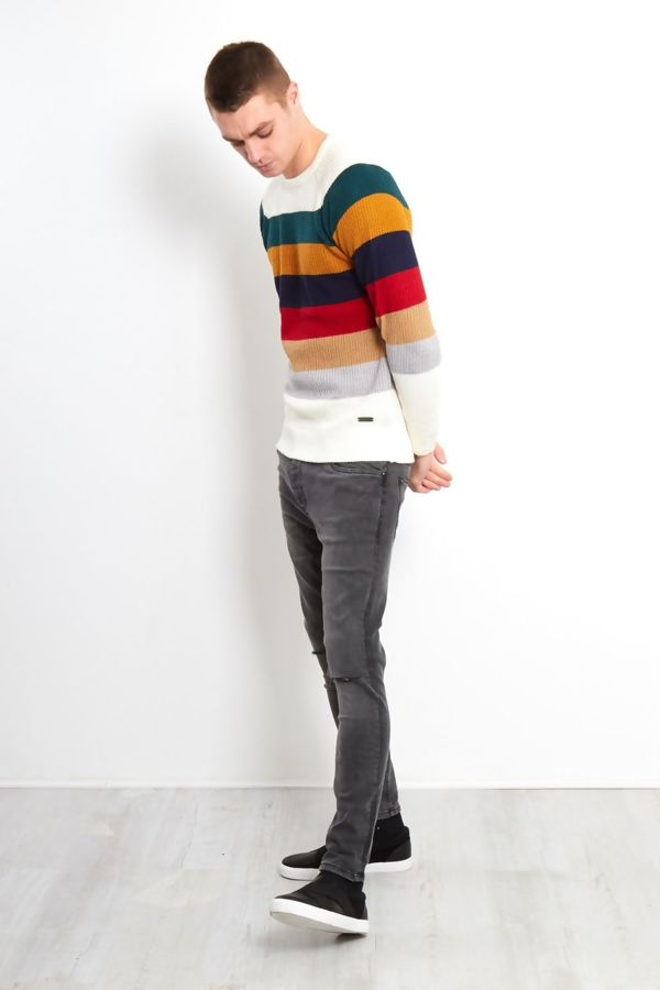 White Rainbow Colour Block Fine Knit Jumper