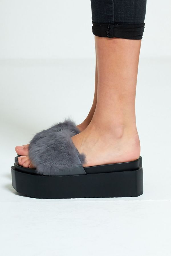 White Real Fur Platform Slider