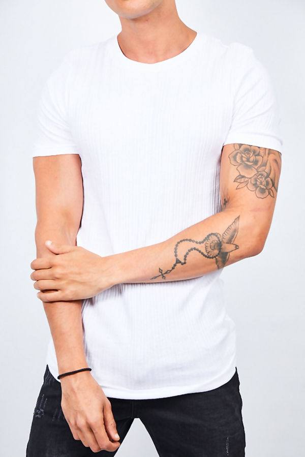 White Ribbed Detail Crew Neck T-shirt