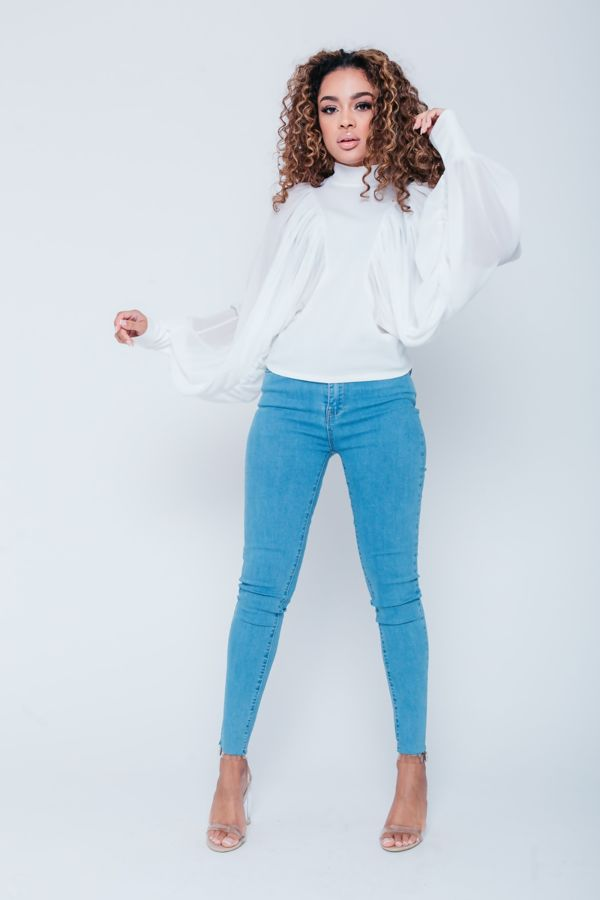 White Ruched Dolman Top