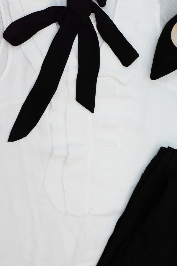 White Ruffle Front Tie Neck Shirt