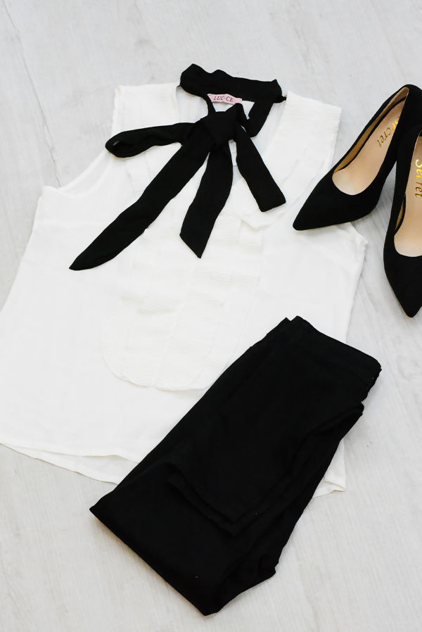 White Ruffle Front Tie Neck Shirt