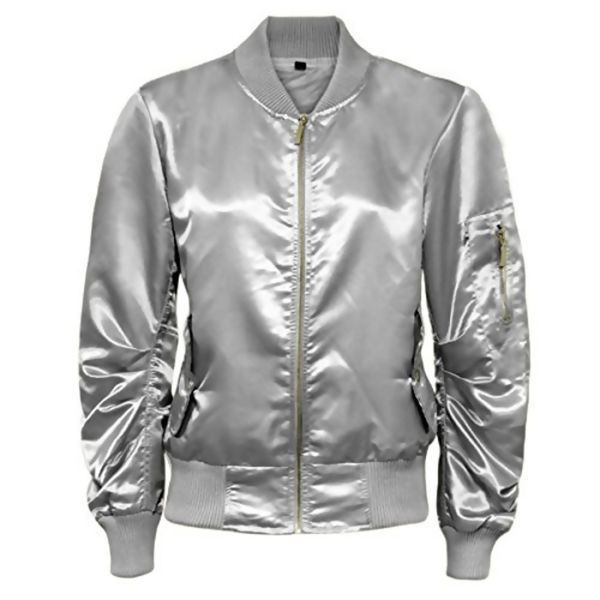 White Satin MA1 Bomber Jacket
