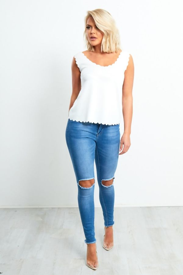 White Scallop Edge Shell Top
