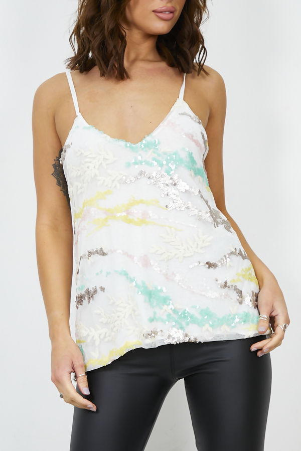White Sequinned Cami Top