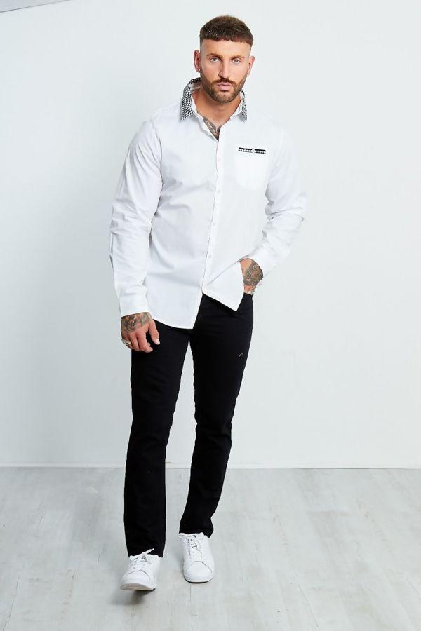Shape Printed Collar Long Sleeve Shirt