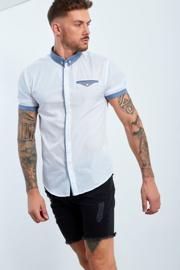 White Shirt With Gingham Collar And Pocket