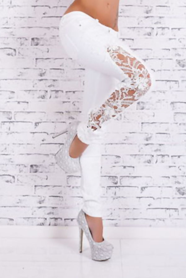 White Side Lace Embroidery Denim Skinny Jeans