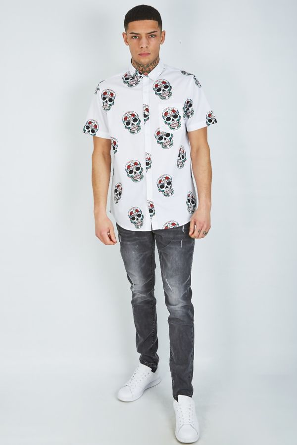 White Skull Printer Shirt