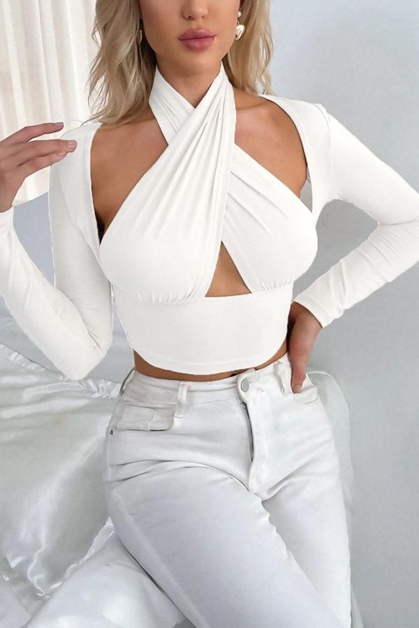 White Slinky Cross Wrap Halter Neck Crop Top