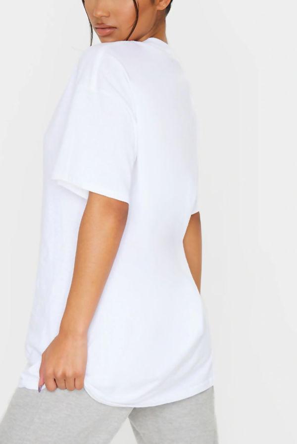 White Smiley Printed T Shirt