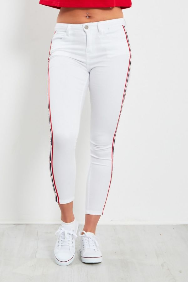 White Stud Detail Cropped Jeans