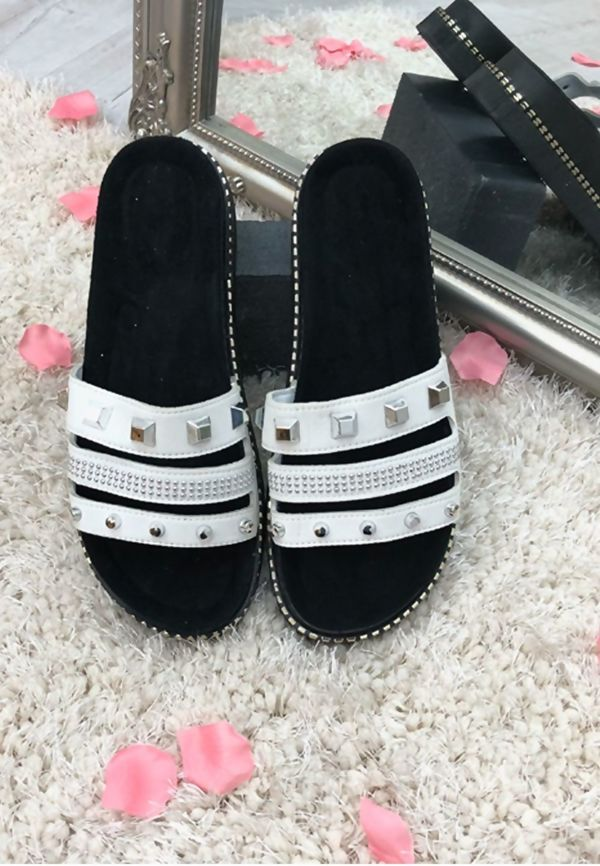 White Stud Strap Slider Sandals