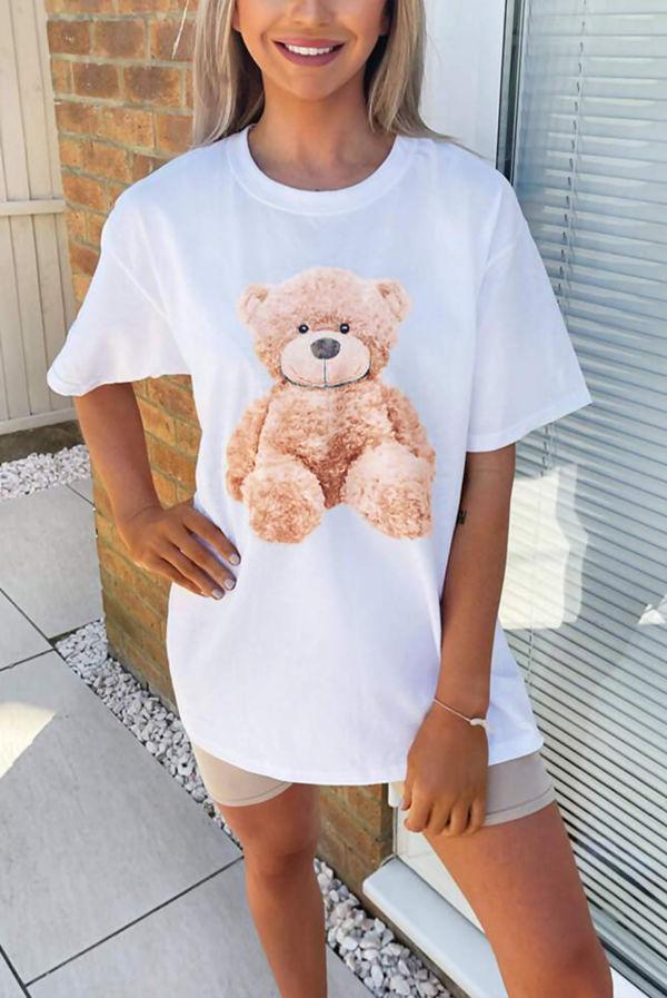 White Teddy Print Oversized Tee