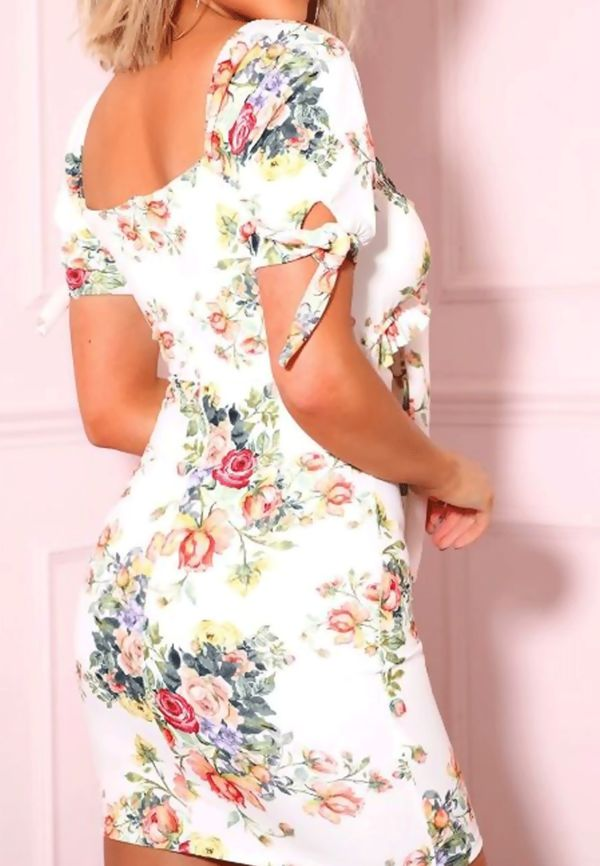 White Tie Front Floral Frill Detail Mini Dress