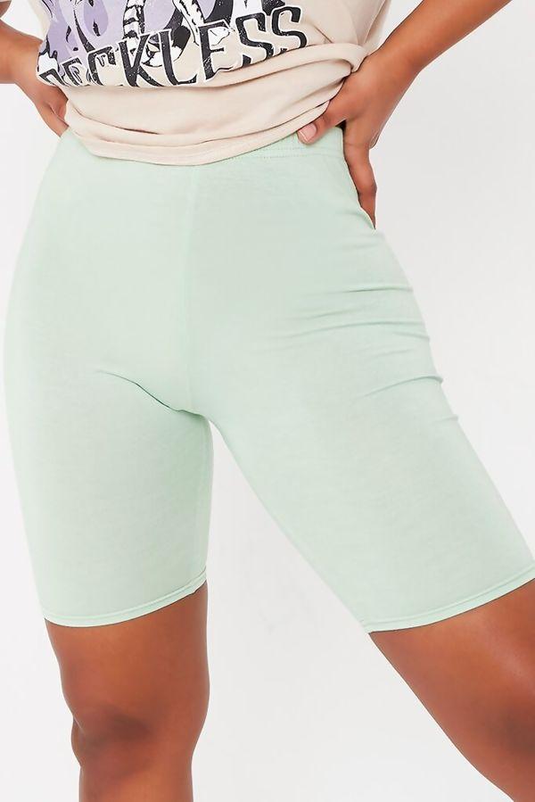 White Viscose Slinky Plain Cycling Shorts