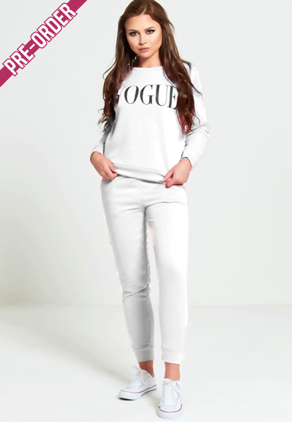 White VOGUE Print Tracksuit