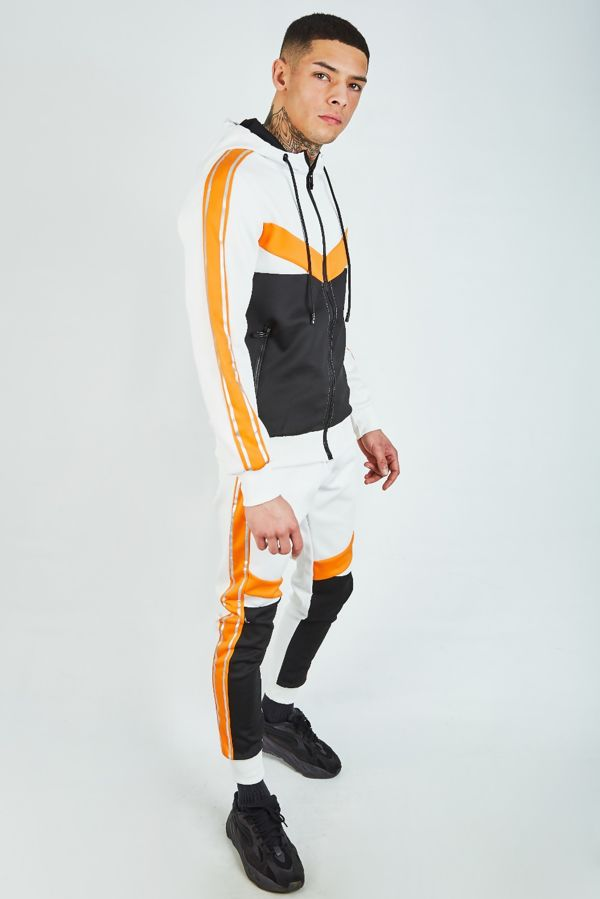 White with Orange and Black Panel Tracksuit