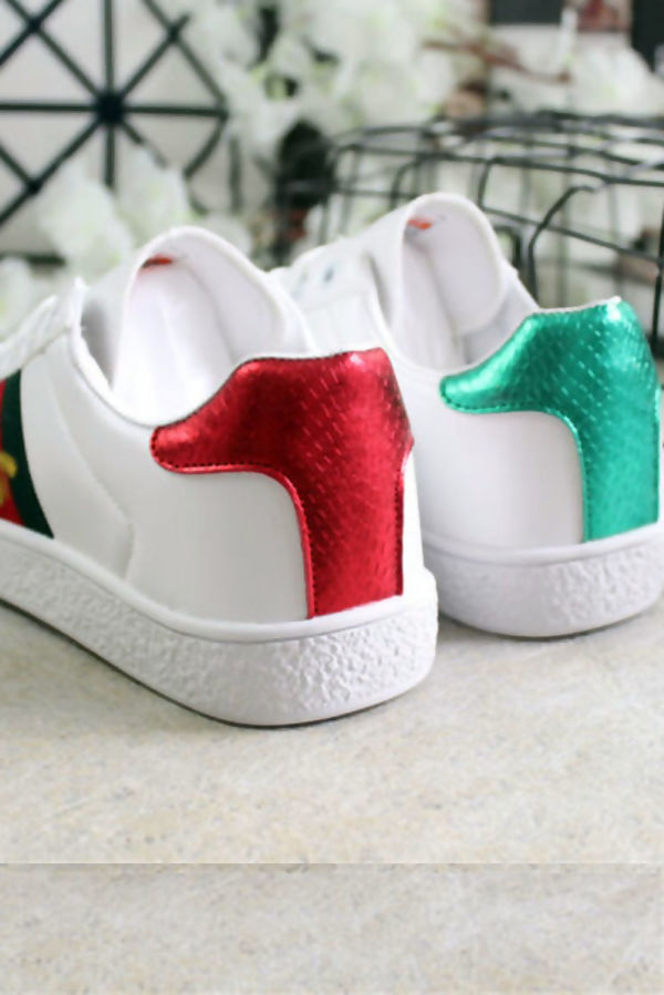 White With Red and Green Stripe Trainers