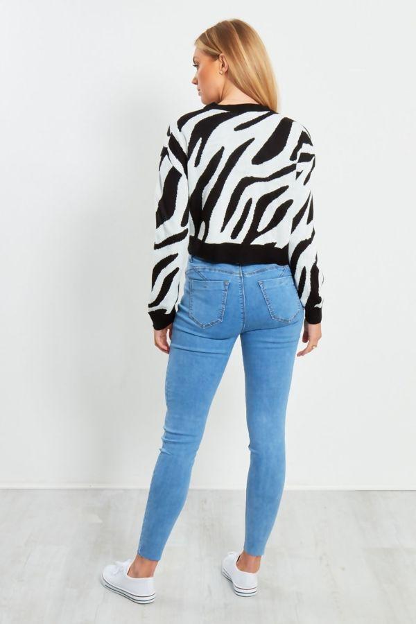 White Zebra Print Crop Jumper
