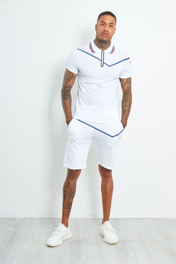White Zip Placket Striped Polo Shorts Set