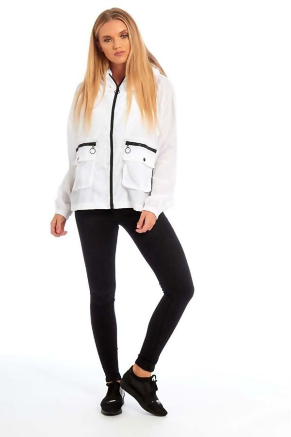 White Zip Through Crop Cagoule Jacket