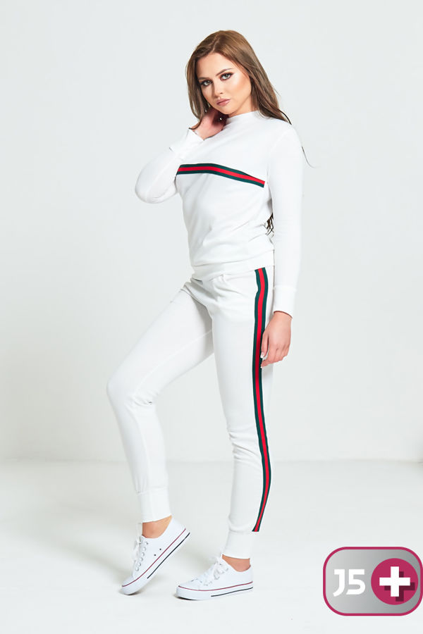 Plus Size White with Red and Green Stripe Tracksuit