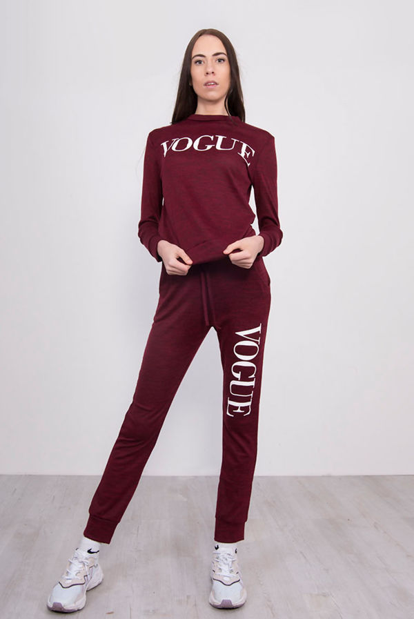 Wine Back To Basic Vogue Skinny Tracksuit