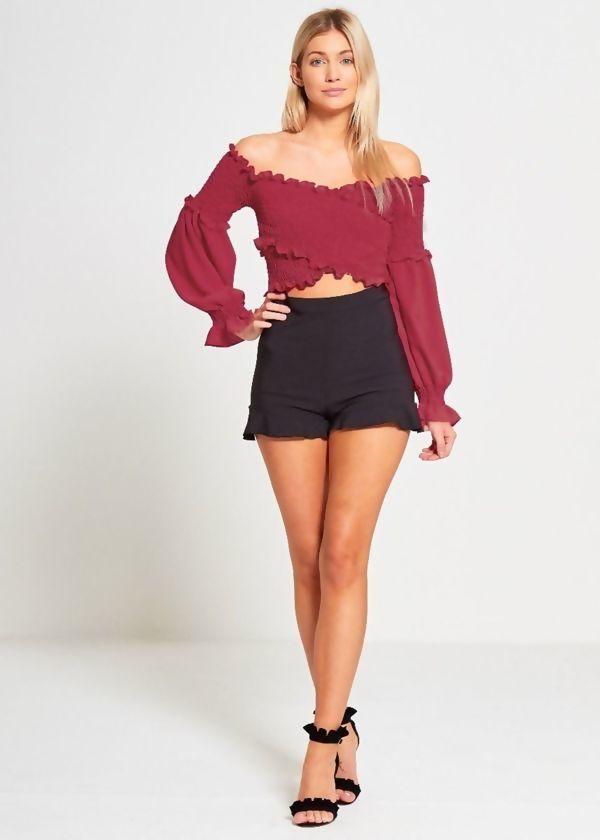 Wine Bardot Shirred Elasticated Crop Top