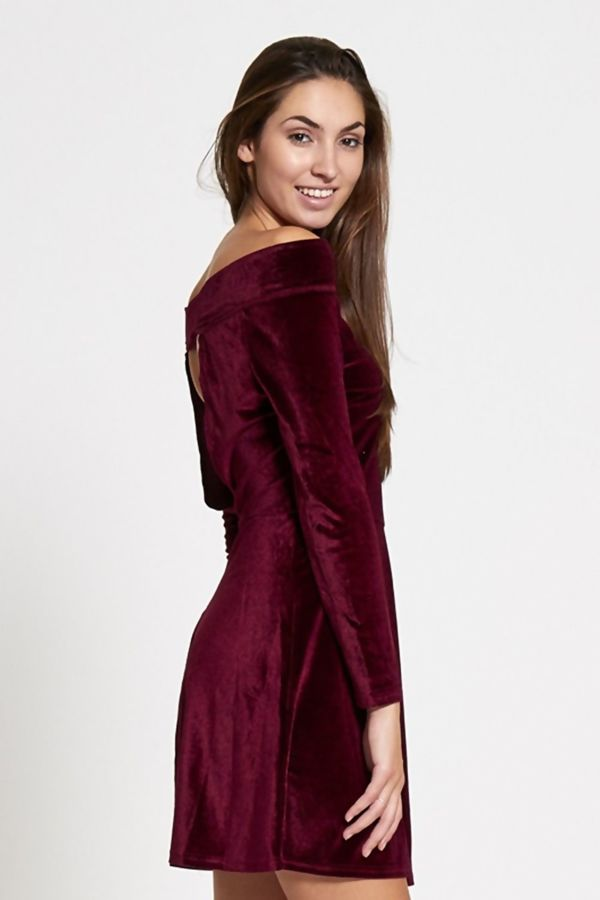 Wine Bardot Style Velvet Mini Skater Dress