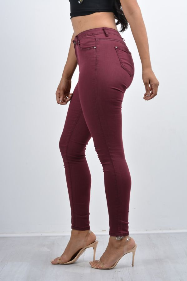 Wine Basic Skinny Fit Jeans