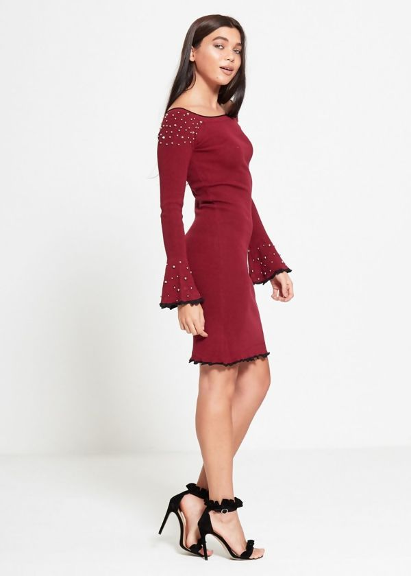 Wine Bell Sleeve Studded Dress