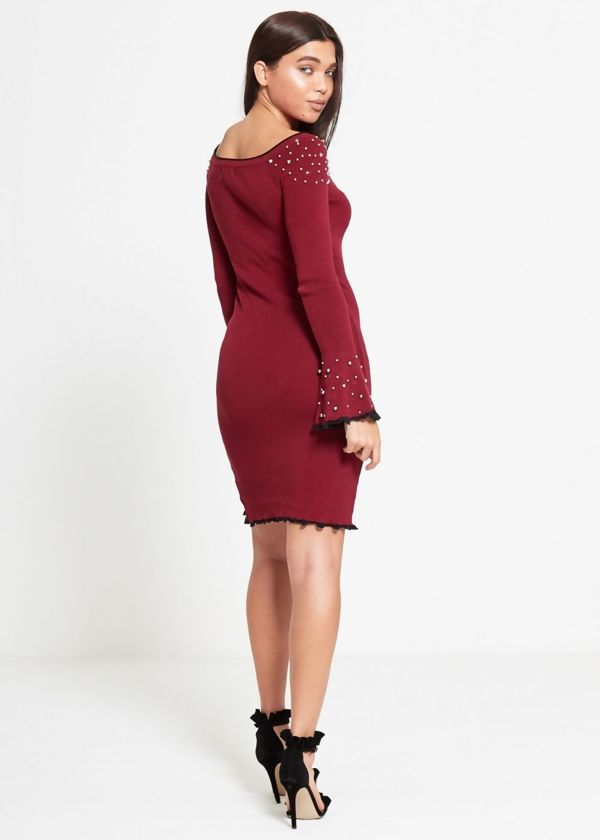 Wine Bell Sleeve Studded Dress