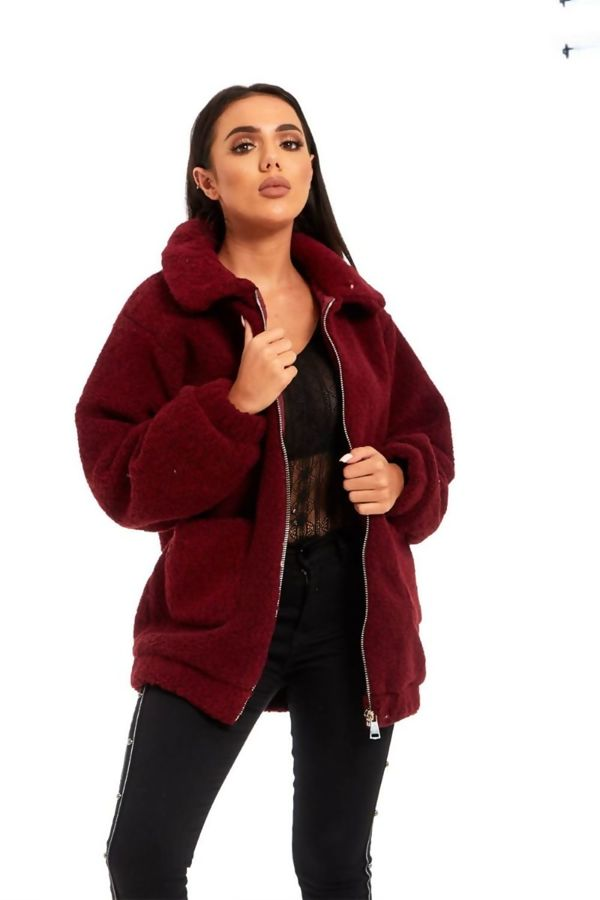 Wine Borg Faux Fur Teddy Jacket