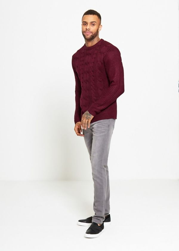 Wine Braid Knit Long Line Jumper