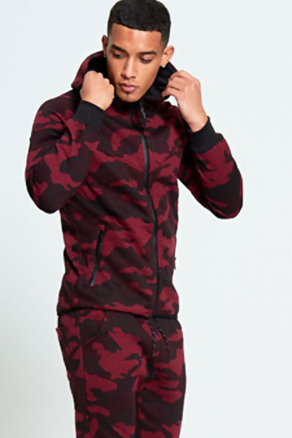 Wine Camouflage Zip Through Tracksuit