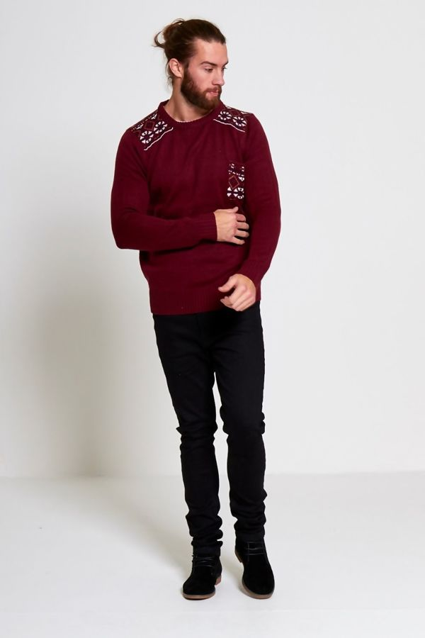 Wine Diamond Print Knitted Jumper