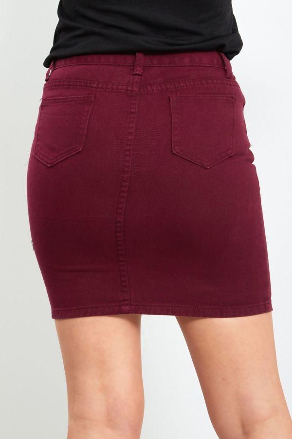 Wine Distressed Denim Skirt