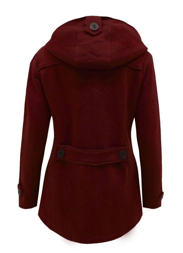 Wine Fleece Hooded Toggle Jacket