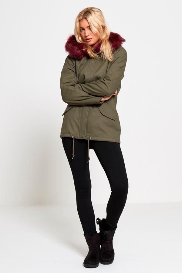 Wine Fur Hood Brave Soul Parka Jacket