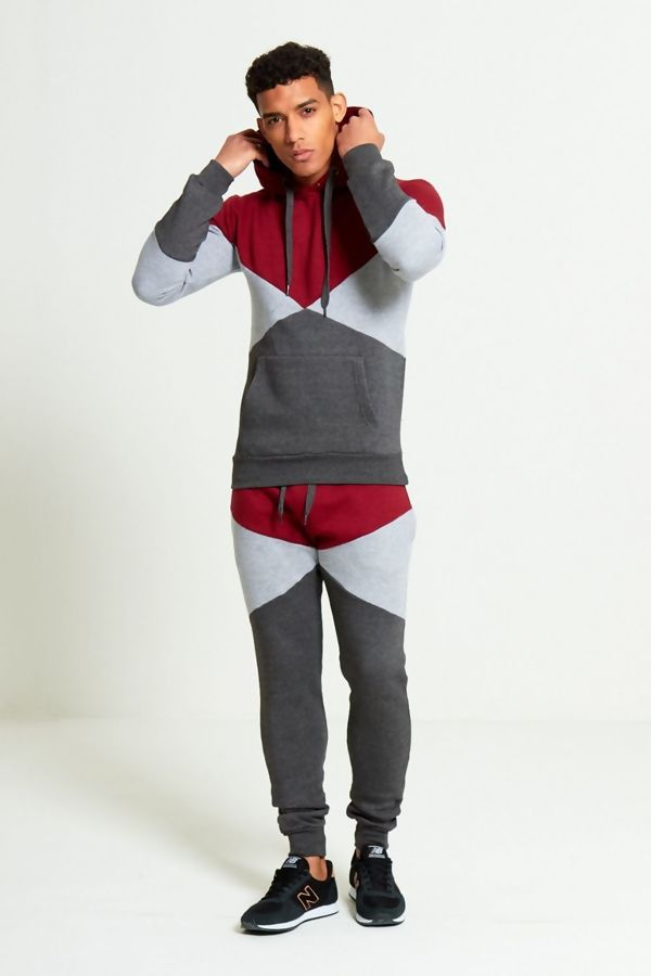 Wine Geometric Pattern Panel Tracksuit