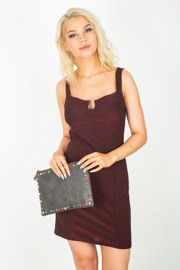Wine Glitter Bralet Bodycon Dress