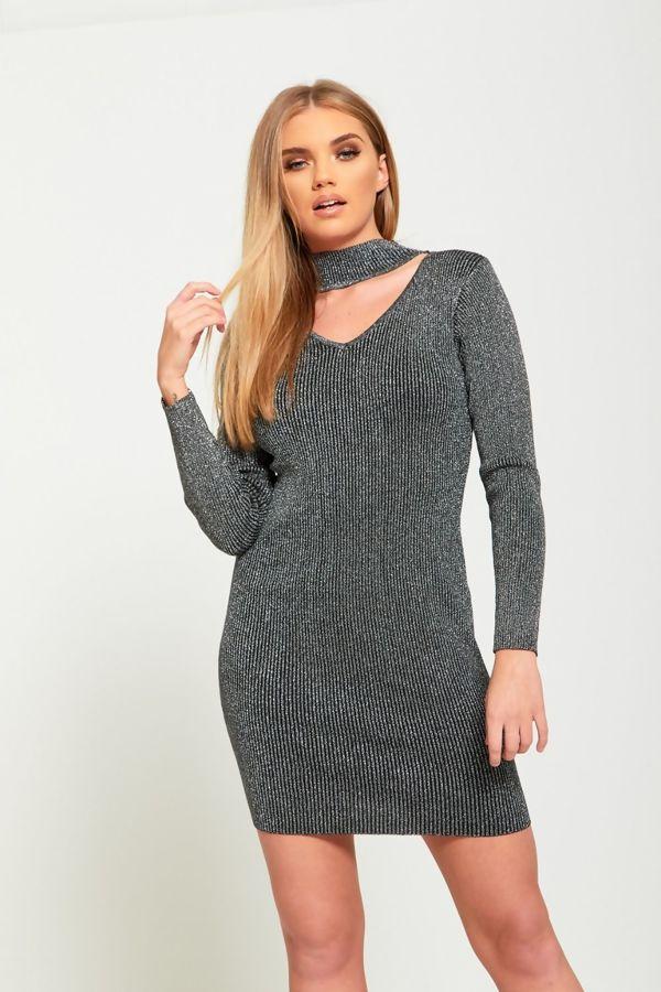 Wine Glitter Choker Dress