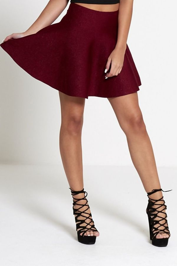 Wine High Waisted Glitter Skater Skirt