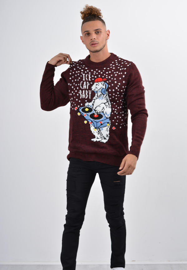 Black Twist ice Cap baby With Lights Christmas Jumper