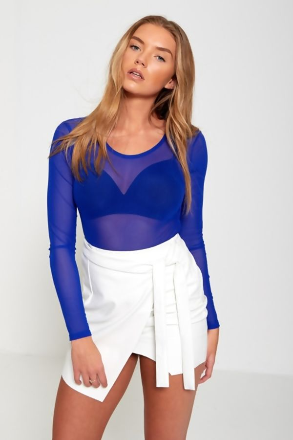 Wine Long Sleeve Mesh Top