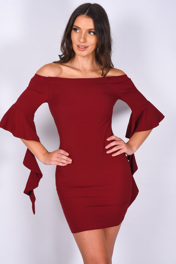 Wine Off Shoulder Frill Draped Sleeve Mini Dress