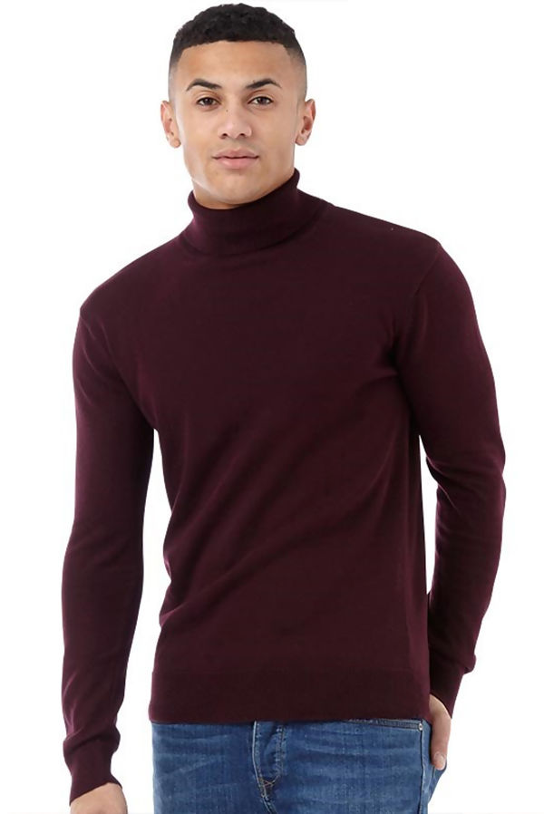 Wine Polo Neck Jumper