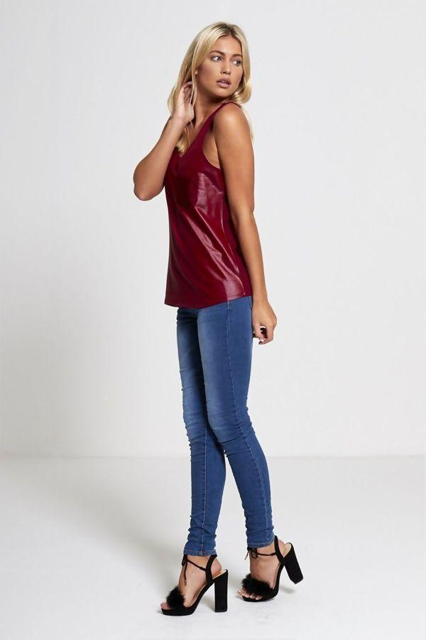 Wine PU Leather Vest Top