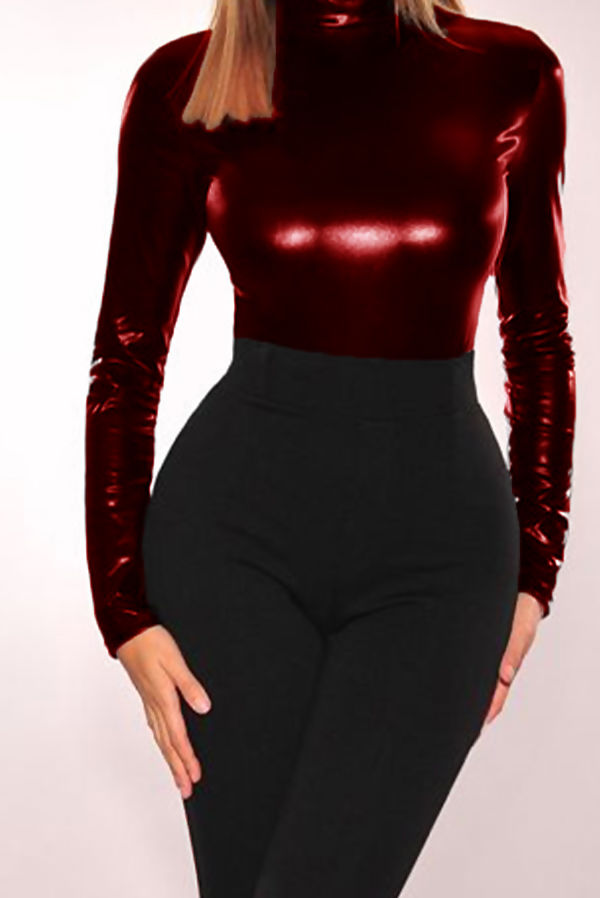 Wine PU Roll Neck Long Sleeve Bodysuit
